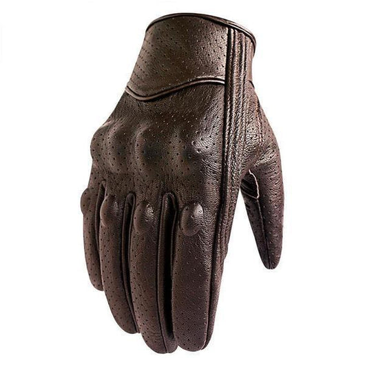 Family Avenue Premium Goatskin Brown Motorcycle Gloves Perforated / L