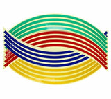 Family Avenue Reflective Wheel Rim Stripe Decal Tape Colorful / 14 inch