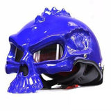 Family Avenue Skull Motorcycle Helmet Bright Blue / M