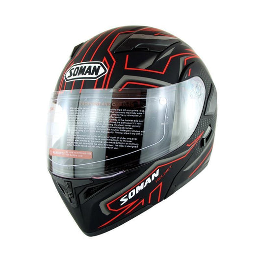 Family Avenue SOMAN™ Motorcycle Flip-Up Helmet Black Red / L (59-60)