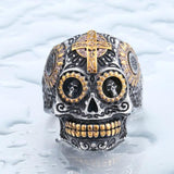 Family Avenue Sugar Skull Ring Gold Accent / 8