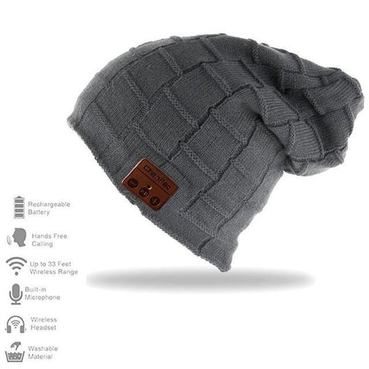Family Avenue The Bluetooth Headphones Beanie Wide Grid Gray