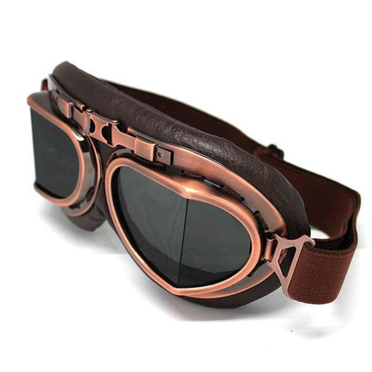 Family Avenue Vintage Steampunk Bikers Goggles Smoke Lens