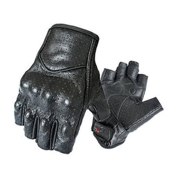 Carbon Armor Leather Biker Gloves / Open Fingers
