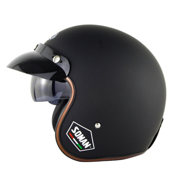 Matte Black Vintage Open Helmet with Retractable Visor