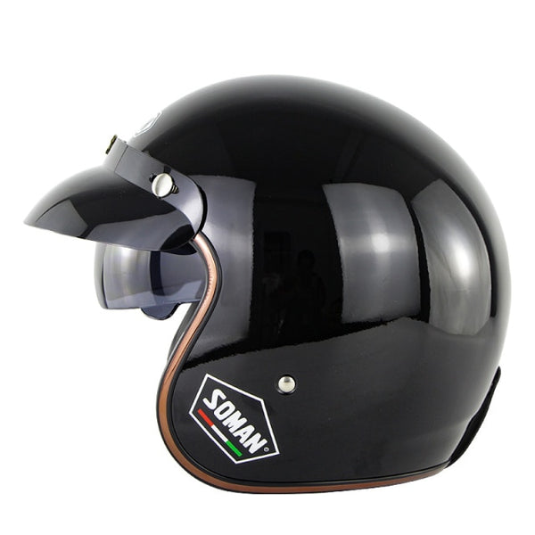 Gloss Black Vintage Open Helmet with Retractable Visor