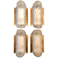 SET OF FOUR GLASS AND GILT METAL WALL SCONCES BY FISCHER LEUCHTEN