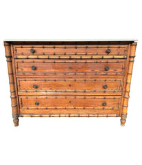 1920S FRENCH FAUX BAMBOO FOUR-DRAWER CHEST OF DRAWERS WITH ORIGNAL MARBLE TOP