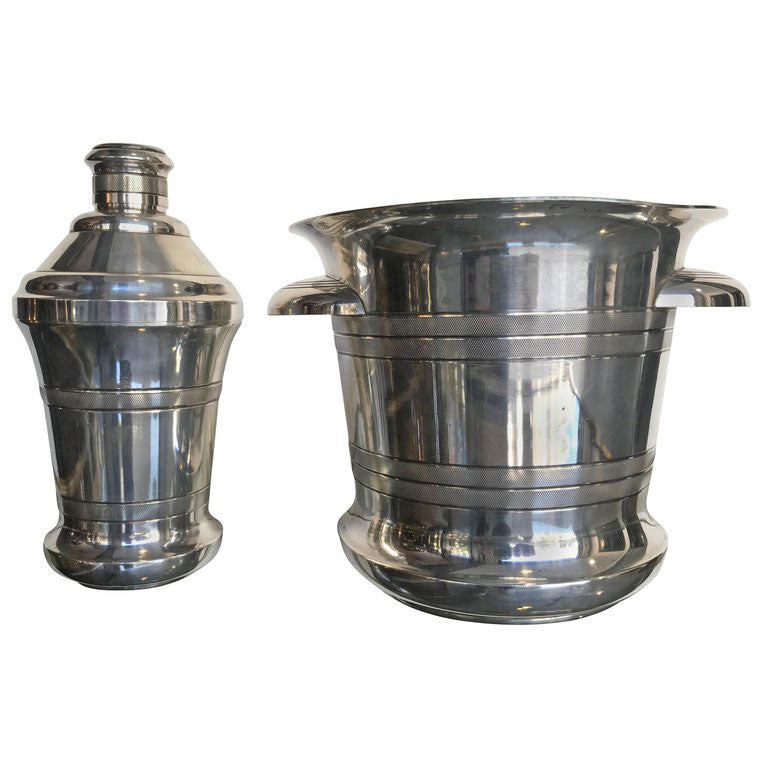 1930S MATCHING SILVER PLATED CHAMPAGNE COOLER AND COCKTAIL SHAKER