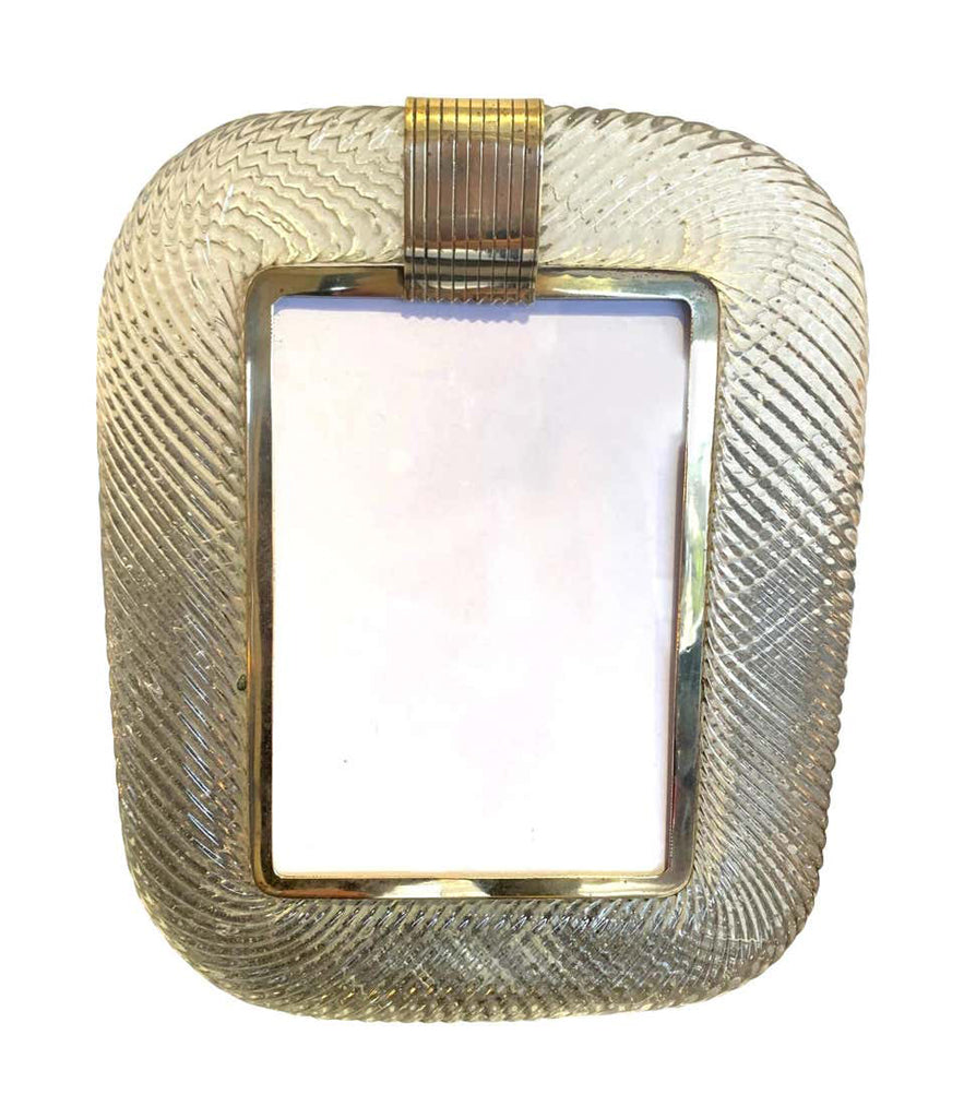 1940S BAROVIER AND TOSO MURANO GLASS PICTURE FRAME WITH BRASS DETAILING