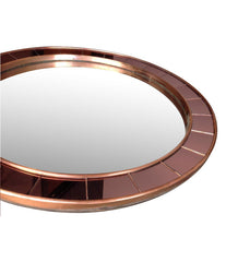1950S CRISTAL ARTE MIRROR WITH ROSE MIRRORED SURROUND AND COPPER FRAME