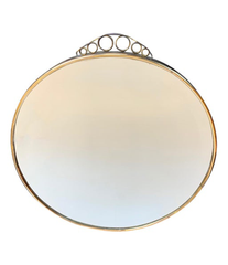 1950S ITALIAN CIRCULAR MIRROR WITH BEVELLED GLASS, BRASS FRAME AND TOP DETAIL