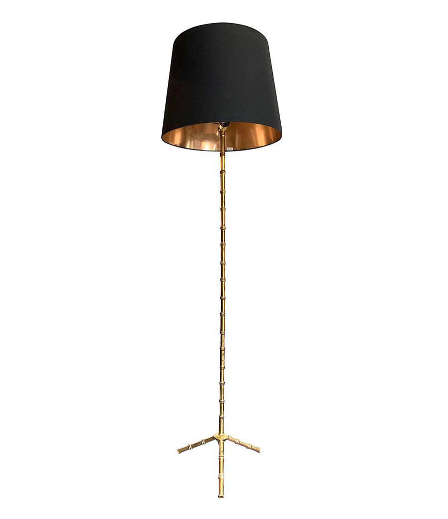 1950S BRASS MAISON BAGUÈS STYLE FAUX BAMBOO FLOOR LAMP WITH TRIPOD FEET