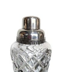 1950S CRYSTAL VAL SAINT LAMBERT COCKTAIL SHAKER WITH SILVER PLATED TOP