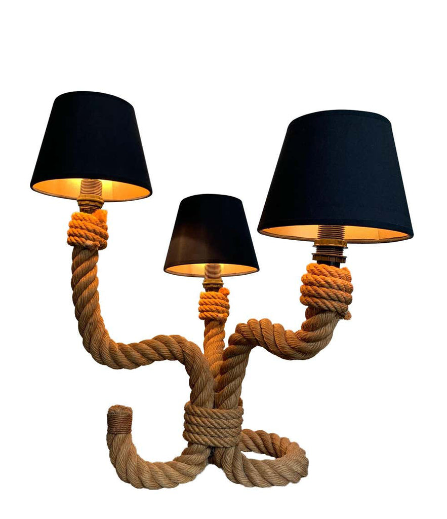 1950S FRENCH RIVIERA ROPE TABLE LAMP BY ADRIEN AUDOUX AND FRIDA MINET