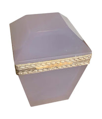 1950S LILAC MURANO GLASS HINGED BOX WITH FACETTED LID AND SILVER METAL EDGE