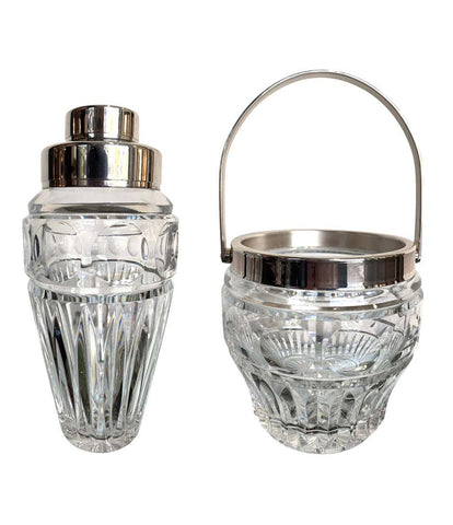 1950S VAL SAINT LAMBERT CRYSTAL COCKTAIL SHAKER AND MATCHING ICE BUCKET