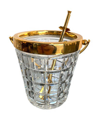 1950S VAL ST LAMBERT CRYSTAL AND GOLD-PLATED COCKTAIL SHAKER AND ICE BUCKET
