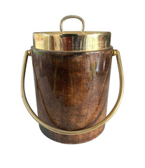 1960S ALDO TURO LACQUERED GOATSKIN ICE BUCKET WITH GILT METAL HANDLE AND TOP