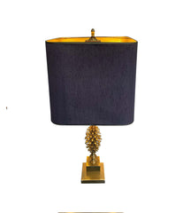 1960S FRENCH MAISON CHARLES STYLE BRASS PINECONE LAMPS WITH ORIGNAL SHADE