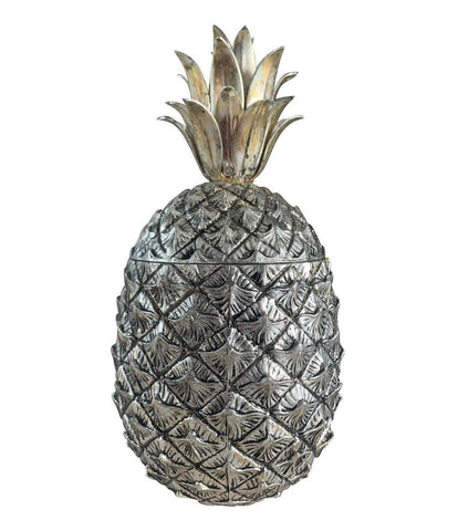 1960S ITALIAN METAL PINEAPPLE ICE BUCKET BY MAURO MANETTI WITH GILT LEAVES