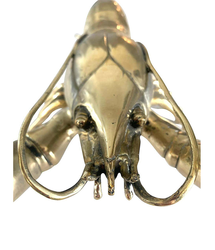 1960S LIFE-SIZE SOLID BRASS LOBSTER SCULPTURE WITH EXQUISITE DETAIL