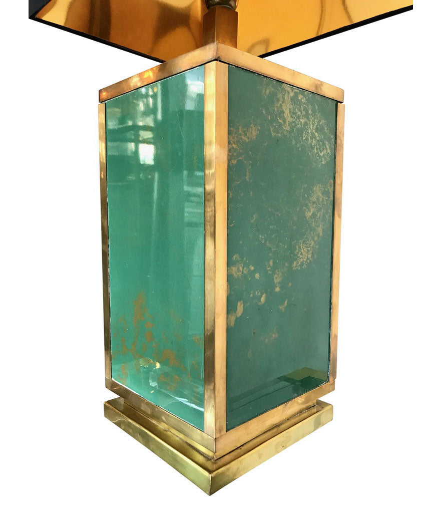 1970S LARGE ITALIAN GREEN GLASS AND BRASS LAMP WITH BLACK AND GOLD SHADE