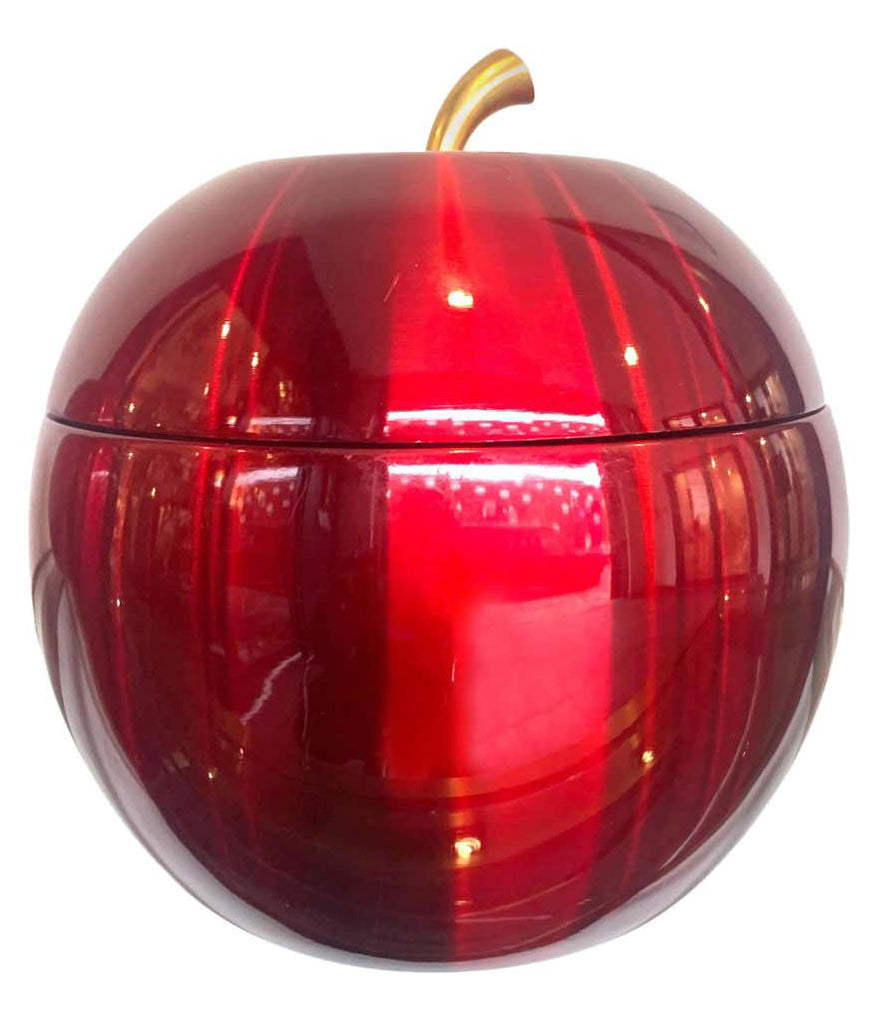 1970S APPLE ICE BUCKET BY DAYDREAM IN ANODISED VIBRANT RED WITH BRASS HANDLE