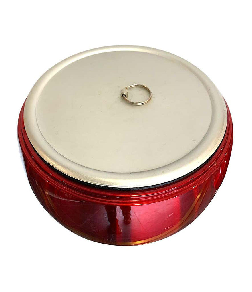 1970S CHERRY ICE BUCKET BY DAYDREAM IN ANODISED VIBRANT RED WITH BRASS HANDLE