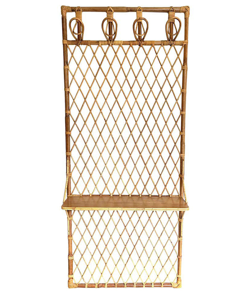 1970S FRENCH RIVIERA RATTAN AND BAMBOO COAT RACK WITH WOODEN SHELF