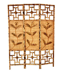 1970S FRENCH RIVIERA THREE PANELLED RATTAN AND BAMBOO SCREEN / ROOM DIVIDER