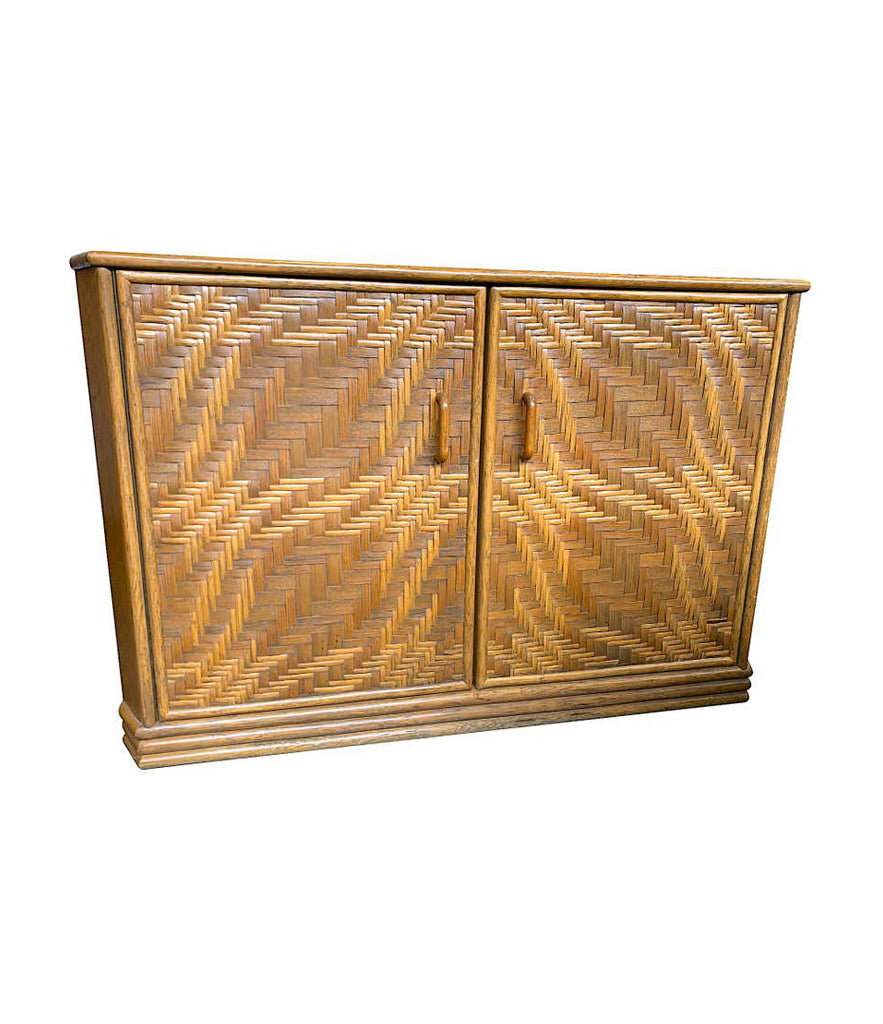 1970S FRENCH RIVIERA TWO DOOR BAMBOO AND RATTAN SIDE CABINET