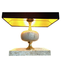 1970S MAISON BARBIER TRAVERTINE AND BRASS LAMPS WITH NEW BESPOKE SHADE