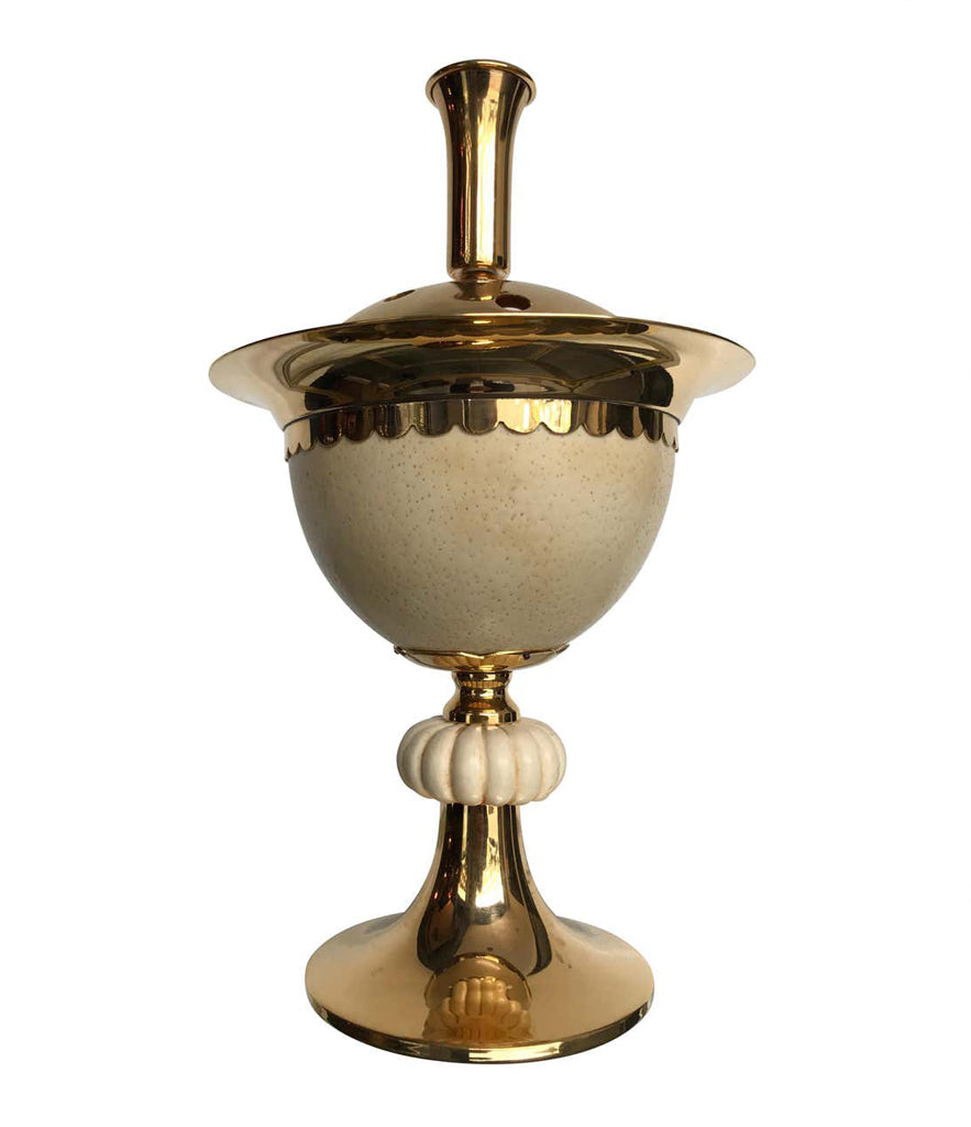 1970S POTPOURRI HOLDER IN GILT METAL WITH REAL OSTRICH EGG BY CHRISTIAN DIOR