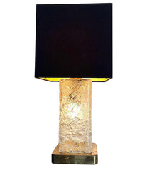 "1970S 'ICE"" LAMP BY HILLEBRAND WITH CENTRAL LIGHT INSIDE THE GLASS STEM"