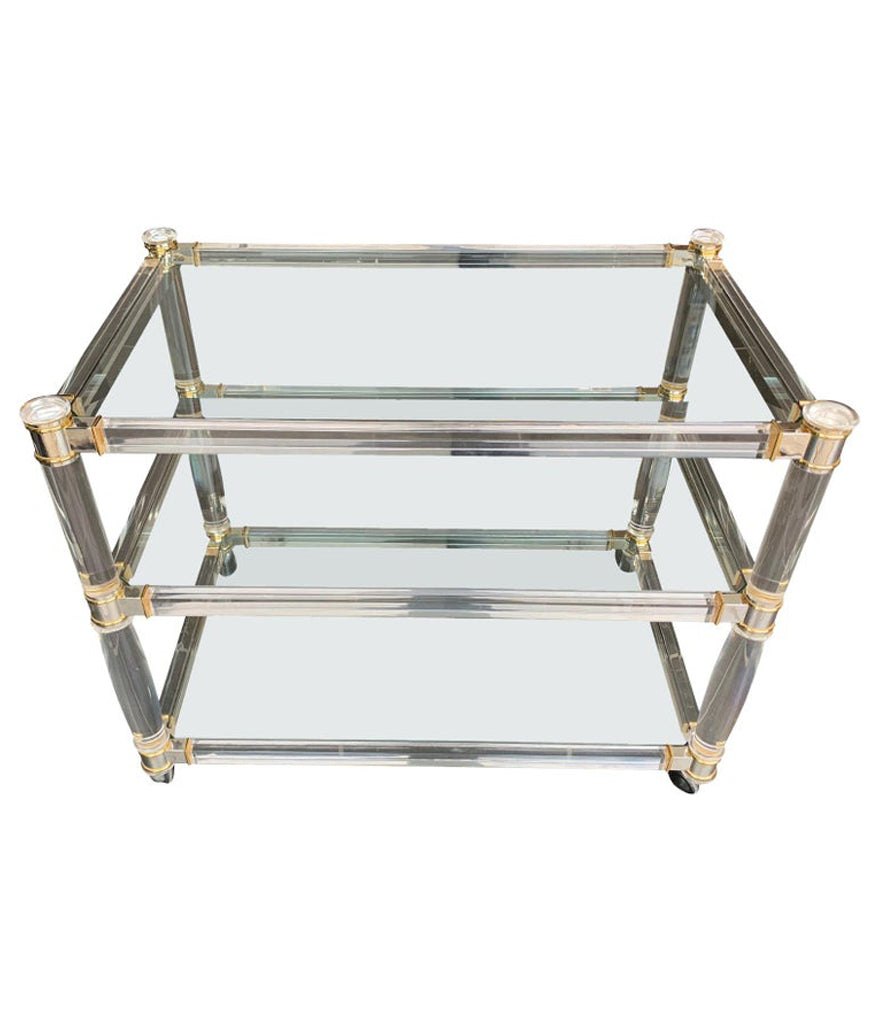 1970S LUCITE AND BRASS BAR TROLLEY WITH 3 GLASS SHELVES AND ORIGINAL CASTORS