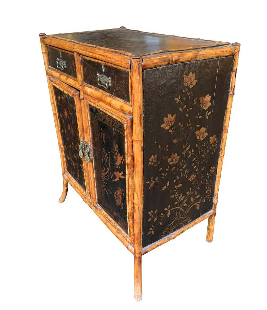 19TH CENTURY CHINOISERIE PAINTED BAMBOO CABINET WITH TWO DRAWERS AND TWO DOORS
