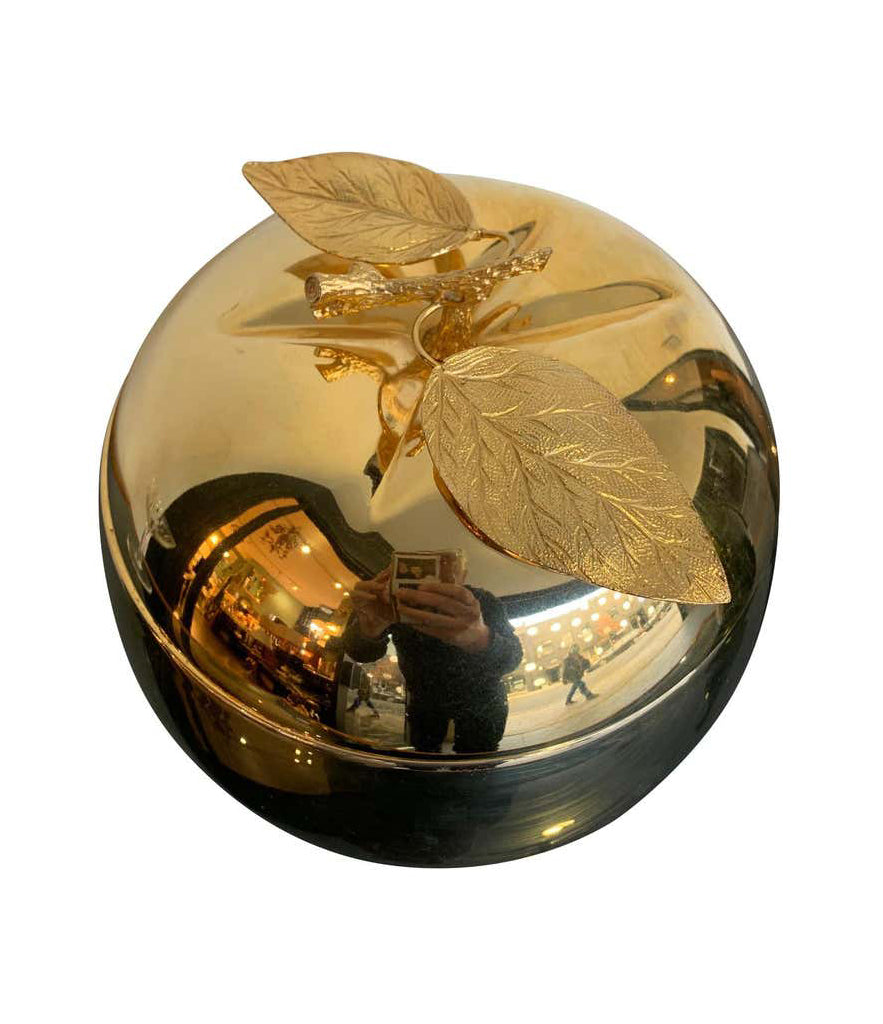 24-CARAT GOLD-PLATED APPLE SHAPED ICE BUCKET WITH DETAILED LEAF HANDLE