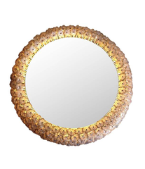 A BEAUTIFUL EMIL STEJNAR BACK LIT MIRROR WITH GLASS FLOWERS SURROUND