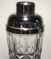 A CRYSTAL AND SILVER PLATE ITALIAN COCKTIAL SHAKER