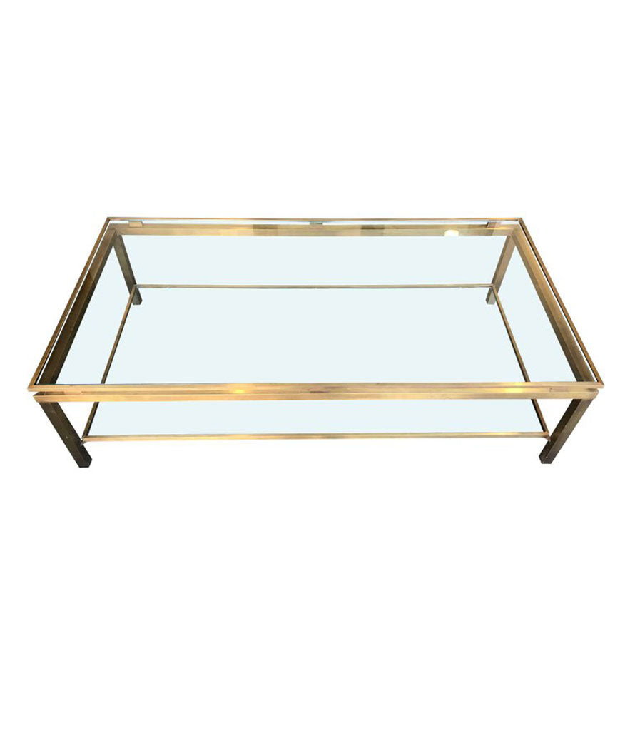 A LARGE GUY LEFEVRE GILT METAL COFFEE TABLE