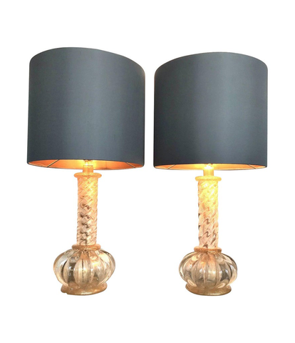 A LOVELY PAIR OF BAROVIER AND TOSO GOLD LEAF MURANO GLASS LAMPS