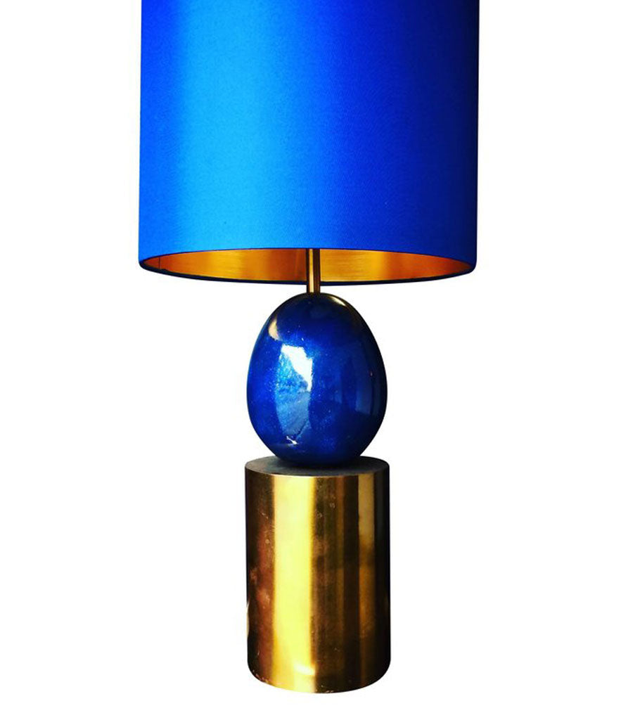 A MAISON CHARLES BRASS AND BLUE EGG LAMP