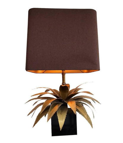 A MAISON JANSEN BRASS PALM TREE TABLE LAMP