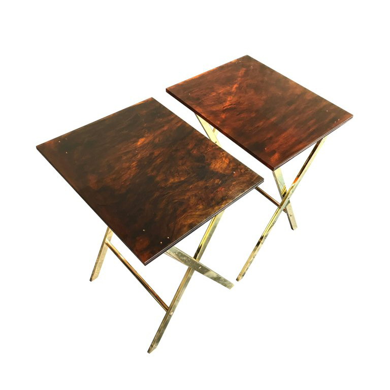 A PAIR OF FAUX TORTOISESHELL SIDE TABLES