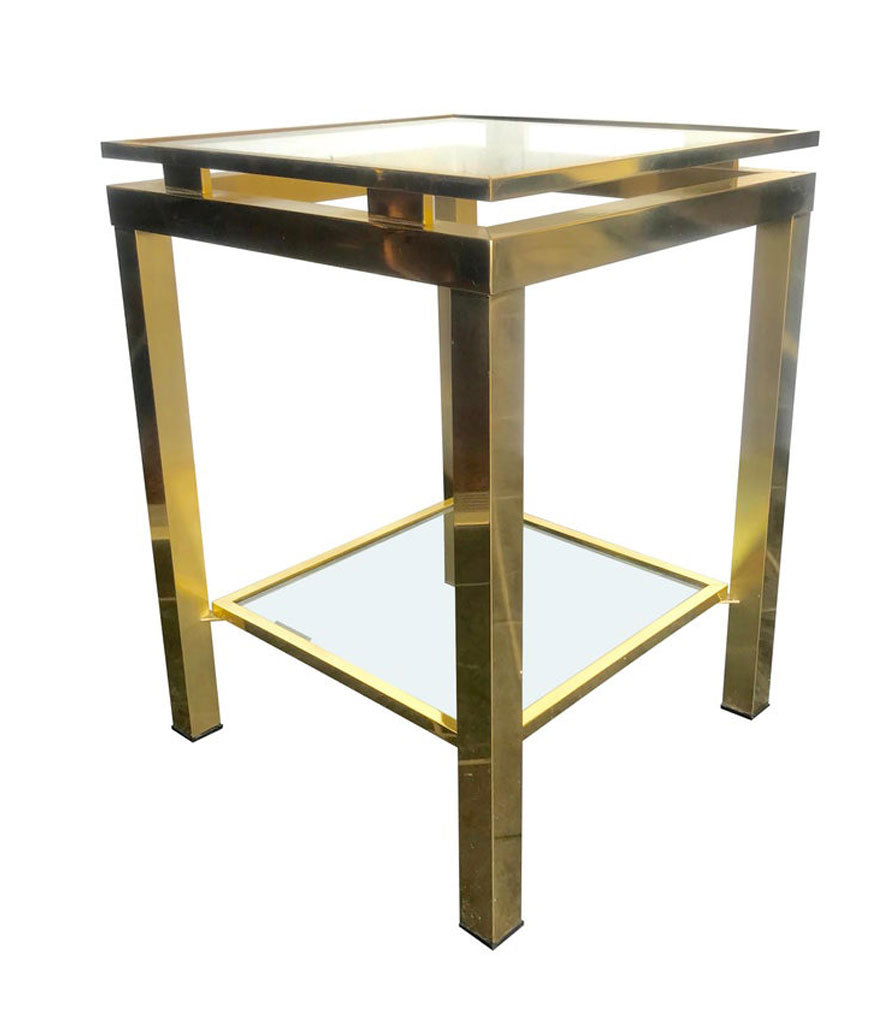 PAIR OF GUY LEFEVRE STYLE POLISHED GILT METAL SIDE TABLES WITH 2 GLASS SHELVES