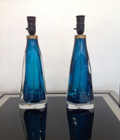 A PAIR OF ORREFORS GLASS LAMPS
