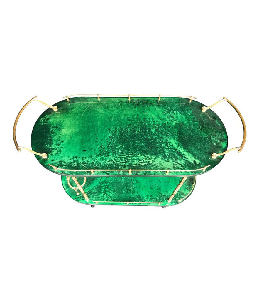 ALDO TURA BAR TROLLEY IN RARE MALACHITE GREEN GOATSKIN