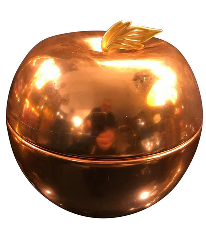 AN APPLE SHAPED COPPER ICE BUCKET