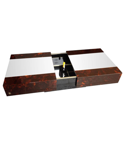 AN ERIC MAVILLE SLIDING COFFEE TABLE WITH HIDDEN BAR